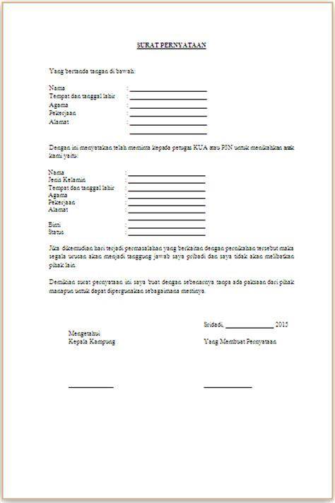 contoh surat pernyataan wali nikah