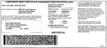 temp car insurance for new drivers sle nys insurance id cards new york state of