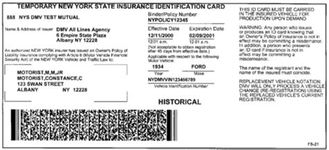 new york id card template sle ny state insurance id cards new york state