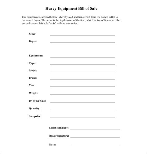 7 sample equipment bill of sale forms sample forms