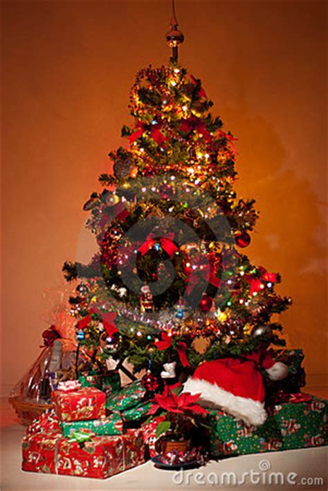 christmas tree  gifts  lights stock images image