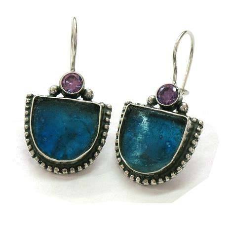 glass jewelry blue glass earrings glass jewelry vintage dangle