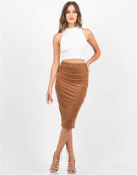 suede midi skirt pencil skirt brown skirt