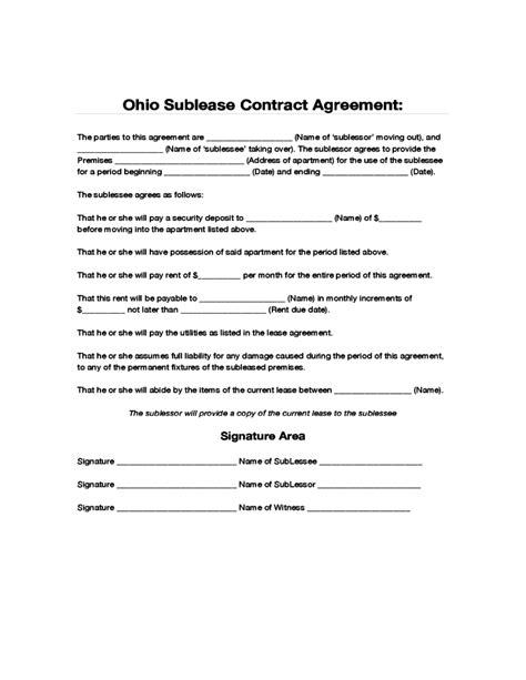 ohio sublease contract agreement