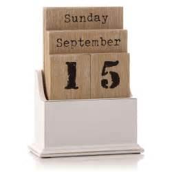 vintage wooden block perpetual year calendar date home