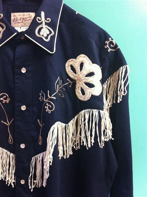 rockmount ranch wear mens vintage western shirt fancy fringe navy blue
