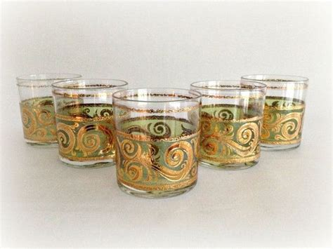 culver barware culver glassware toledo old fashioned gold green set of 5