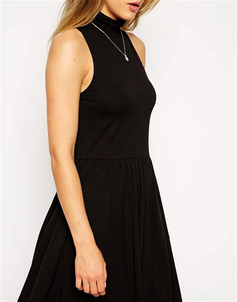 Dress Polos Cut Black Lunna Cewek asos midi skater dress with polo neck and cut away arm in black lyst