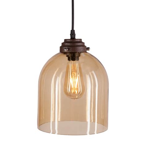Pendant Lighting Colored Glass with Shantele Edison Collection 1 Light Copper Clear Glass Indoor Adjustable Pendant L Ld4025
