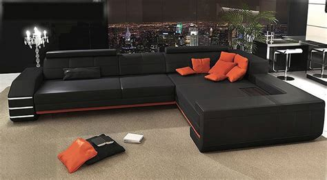 orange and black sofa black orange leather sofa fashionable sectional living
