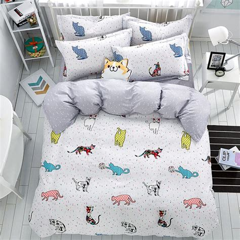 2017 new 4pcs lovely cat cartoon kids bedding set queen