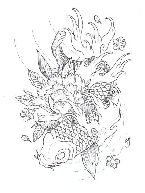 koi tattoo outline koi outline by silentstudiosuk on deviantart