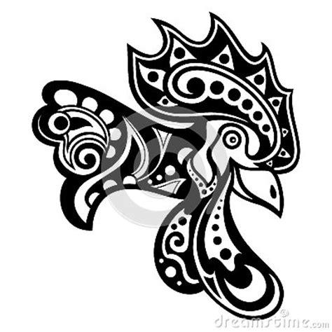 Ati Ayam Motif Mr X cabeza decorativa tribal gallo vector ilustraci 243 n