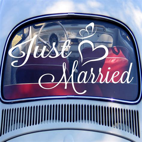 married car decal wedding personalized names