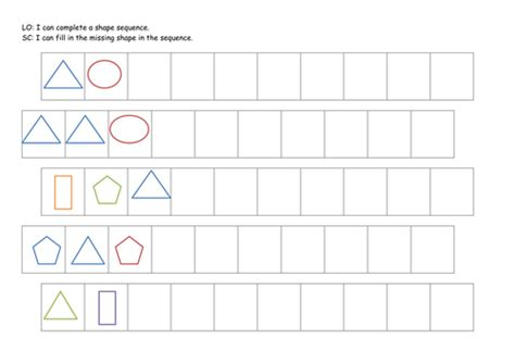 pattern worksheet tes ks1 year 1 shape patterns complete the sequence new