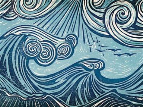Woodcut Pattern Jose Canales Wave Woodcut Print Printmaking Patterns