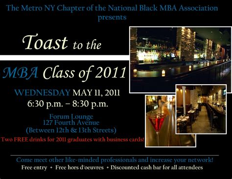 Mba Networking Events Nyc by Toast To The Mba Class Of 2011 Tickets Wed May 11 2011