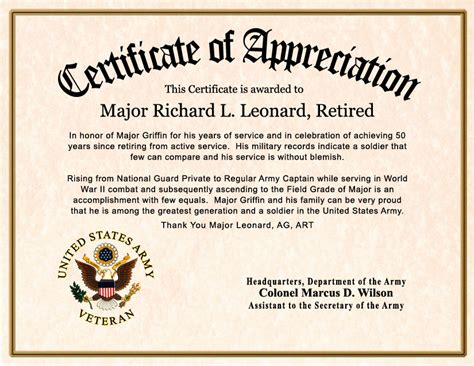 customizable certificate templates thank you certificate template veteran appreciation
