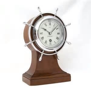 Nautical Desk Clock by Large H Brown Sons Deco Mahogany 8 Days Ship S