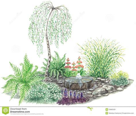 disegno giardino disegno giardino con poca fontana immagini stock