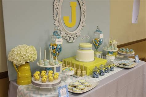 Blue And Yellow Baby Shower by Gray Blue Yellow Baby Shower Baby Shower Ideas Themes
