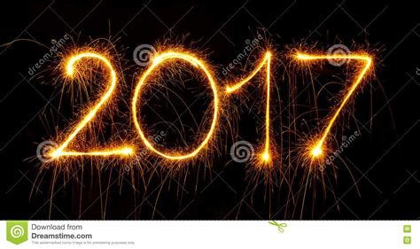 new year image happy new year 2017 with sparklers on black stock image