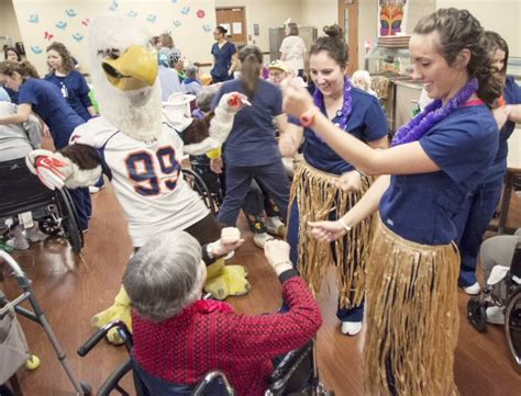 carson newman students throw luau for nursing home