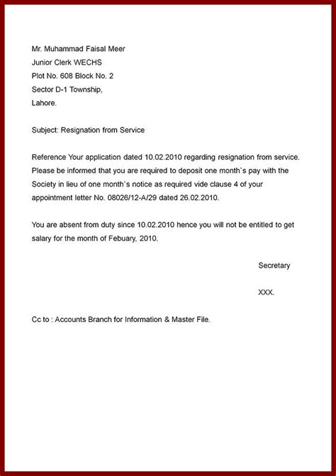 Official Letter Format Of Resignation resignation letter printable formal resignation letter