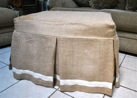 how to make ottoman cover burlap ottoman slipcover