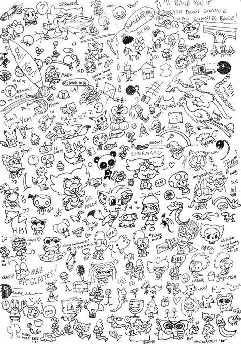 easy doodle coloring pages massive random doodle page by boltonartist on deviantart