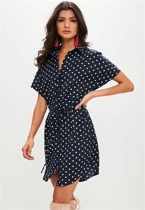 Blue Polka Shirt Dress lyst missguided navy polka dot shirt dress in blue