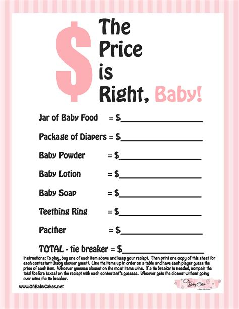Baby Shower Gams by Baby Shower The Price Is Right Baby Shower