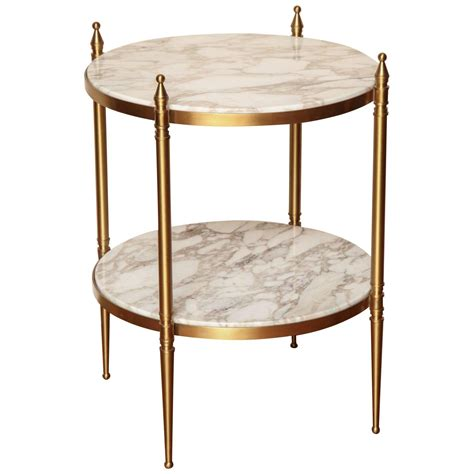 furniture black marble metal round directoire accent two tiers small round marble end table with gold metal