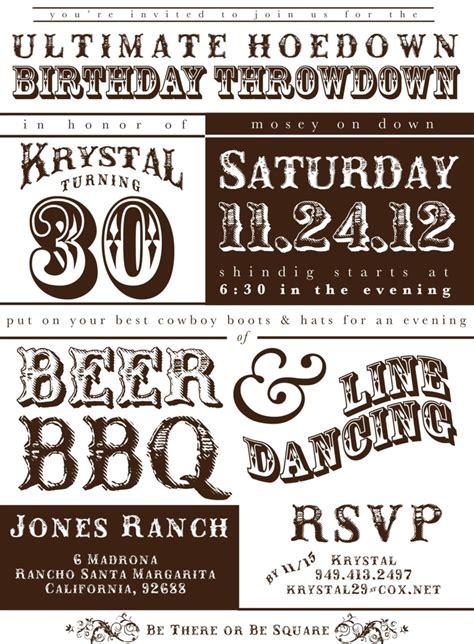 printable western hoedown birthday invitation western