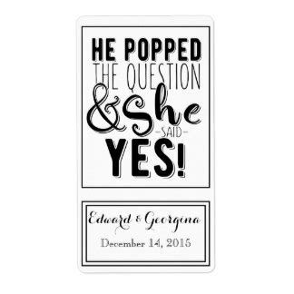 He Popped The Question Stickers Uk