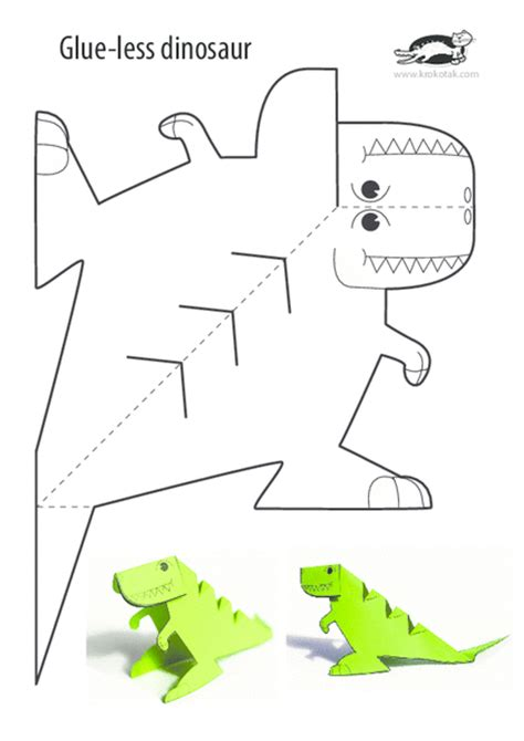 Paper Dinosaur Craft - krokotak print printables for