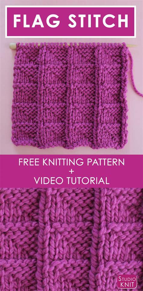 video tutorial knitting flag knit stitch pattern with video tutorial studio knit