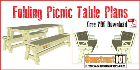 folding picnic table plans easy  build projects
