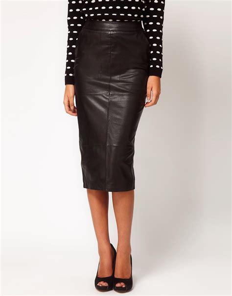 asos asos pencil skirt in leather at asos
