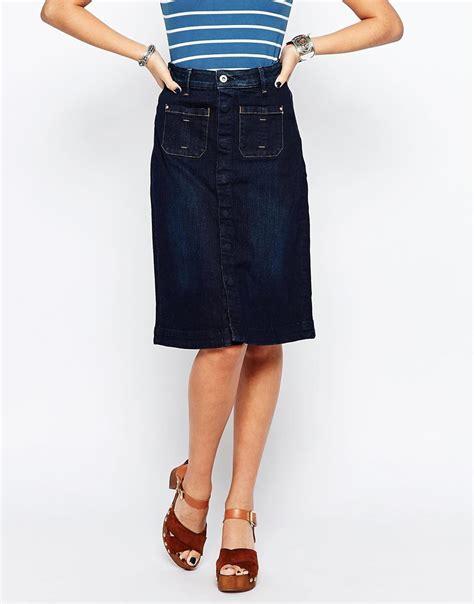 esprit button up denim midi skirt in blue bluerinse lyst