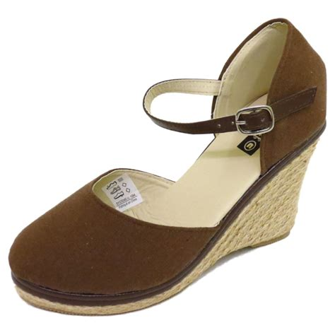 brown hessian summer strappy wedge espadrille