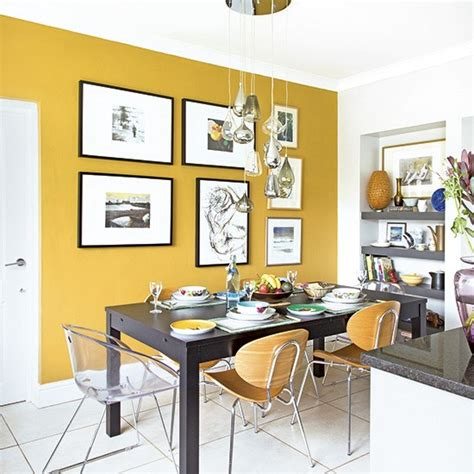 kitchen feature wall paint ideas smart modern kitchen diner with mustard yellow feature