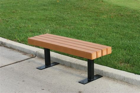 Park Bench backless recycled plastic park bench