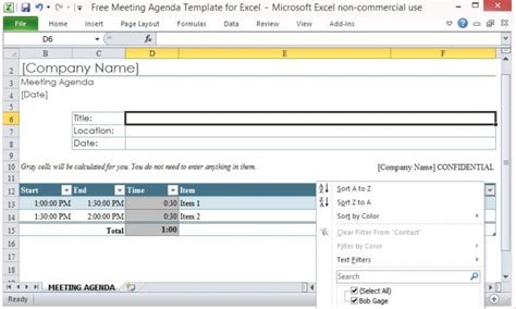 Free Meeting Agenda Template For Microsoft Excel Meeting Minutes Template Excel