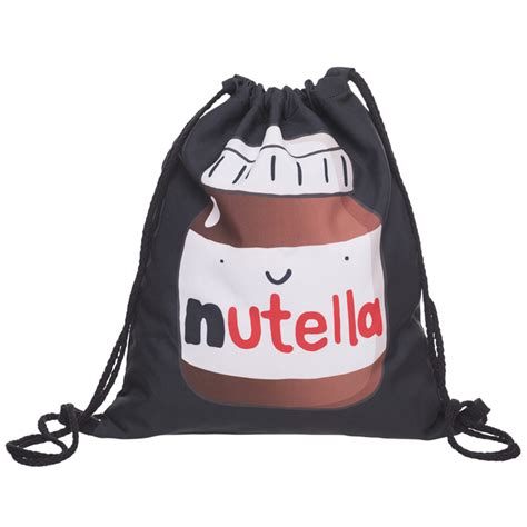 Bag Zada who cares fashion 3d printing nutella black mochila feminina backpack daily casual