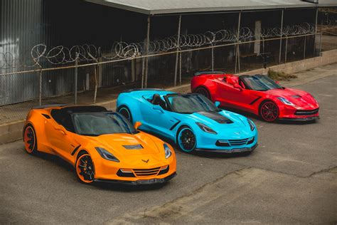 widebody corvette c7 widebody c7 corvette trio looks poisonously