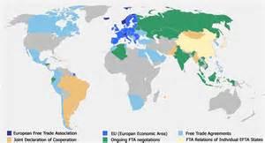 us free trade agreements map free trade map european free trade association