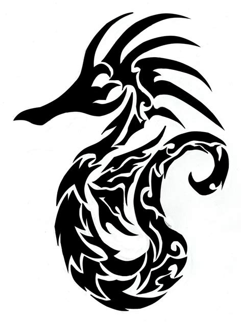 tribal seahorse tattoos tribal seahorse finished clipart best clipart best