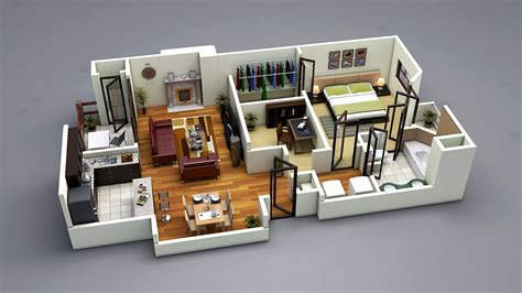 Photo Realistic 3d Floor Plan 3ds Max Vray Www House Plans 3d Max