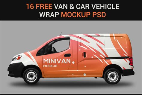 van car vehicle wrap mockup psds designyep